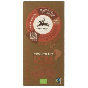Czekolada gorzka 80% z kawałkami kakao FT bio 100g Alce Nero