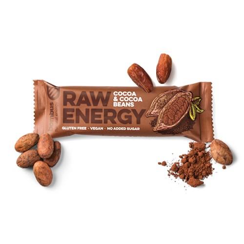 Baton RAW Energy z ziarnami kakaowca 50g Bombus